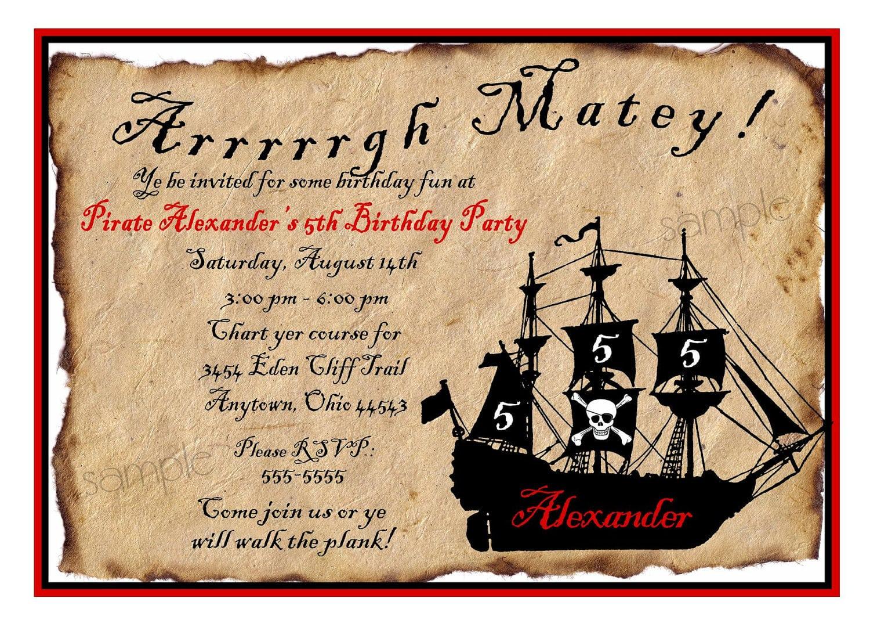 Pirate Birthday Invitation Wording