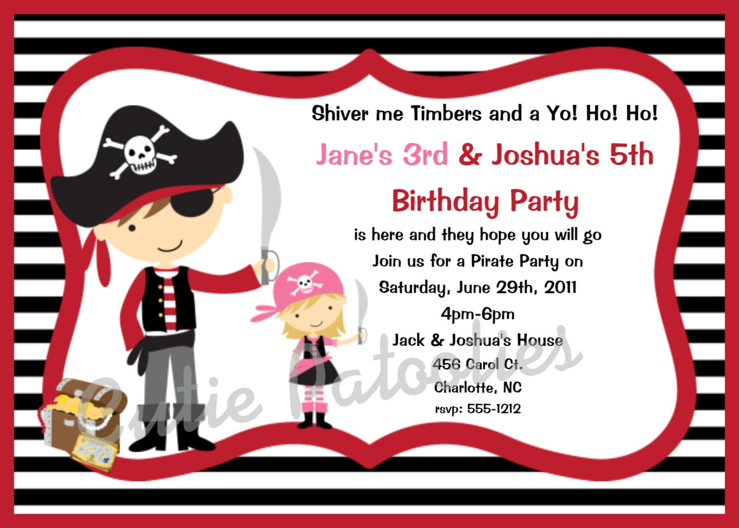 Pirate Party Invitation Wording Template