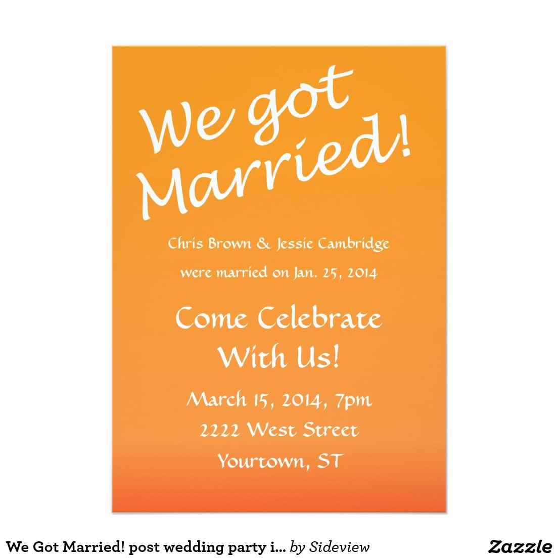 Post Wedding Reception Invitation Wording Post Wedding Reception
