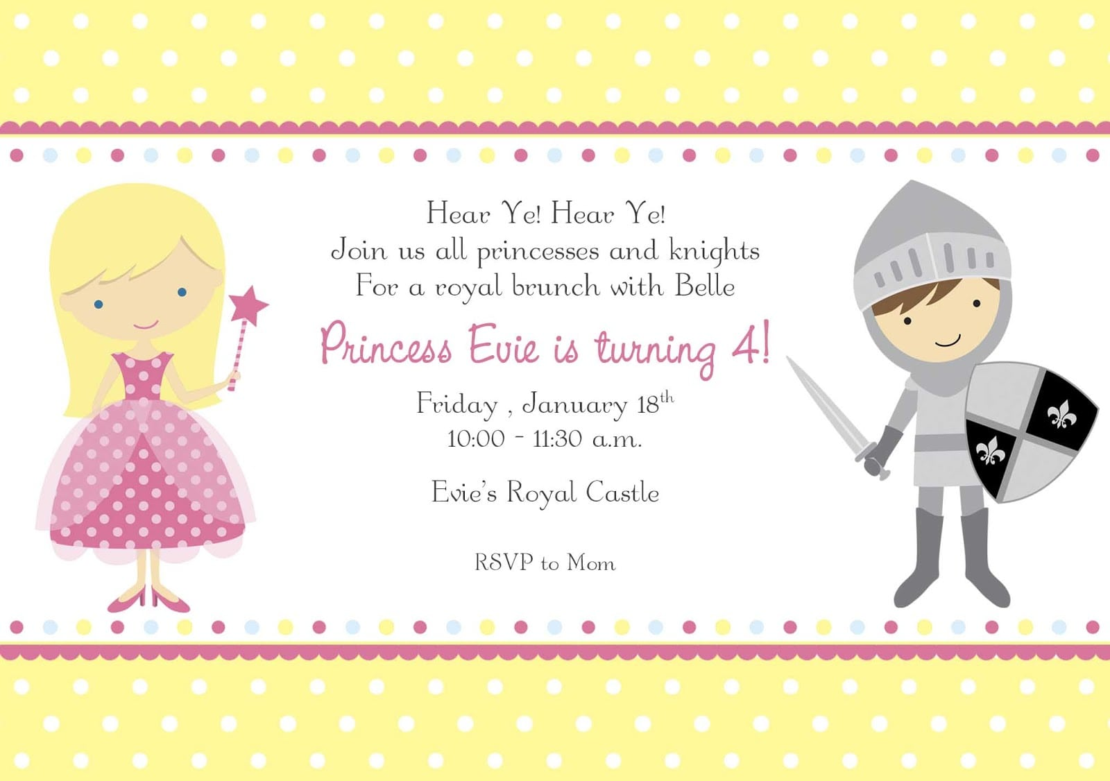 Princess And Knight Party Invitations - Mickey Mouse Invitations ...