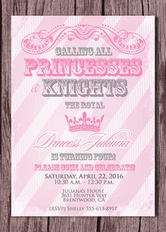 Princess And Knight Birthday Party Invitation By Scripturewallart