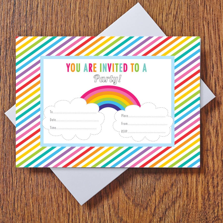 Rainbow Party Invitations By Feather Grey Parties