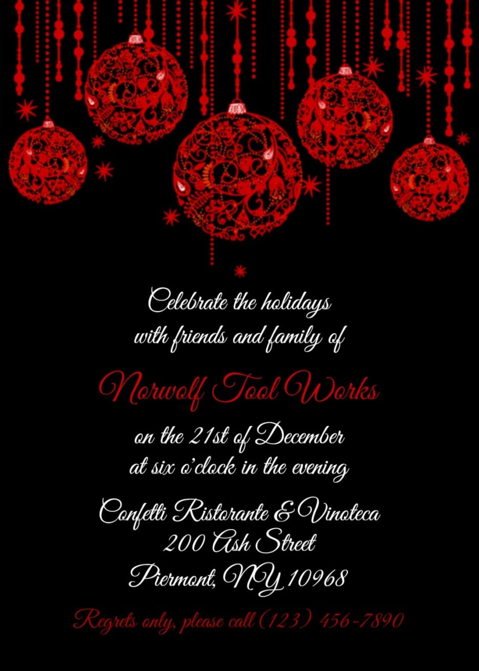 Red And Black Office Christmas Party Invitation Templates