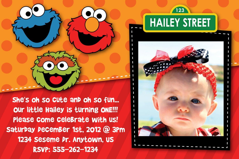 Sesame Street 2nd Birthday Invitations