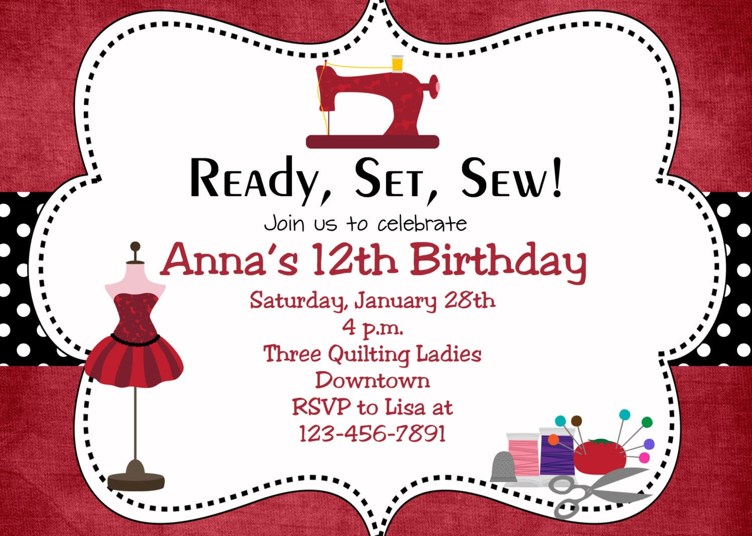 Sewing Party Birthday Invitation Sewing Birthday Sewing