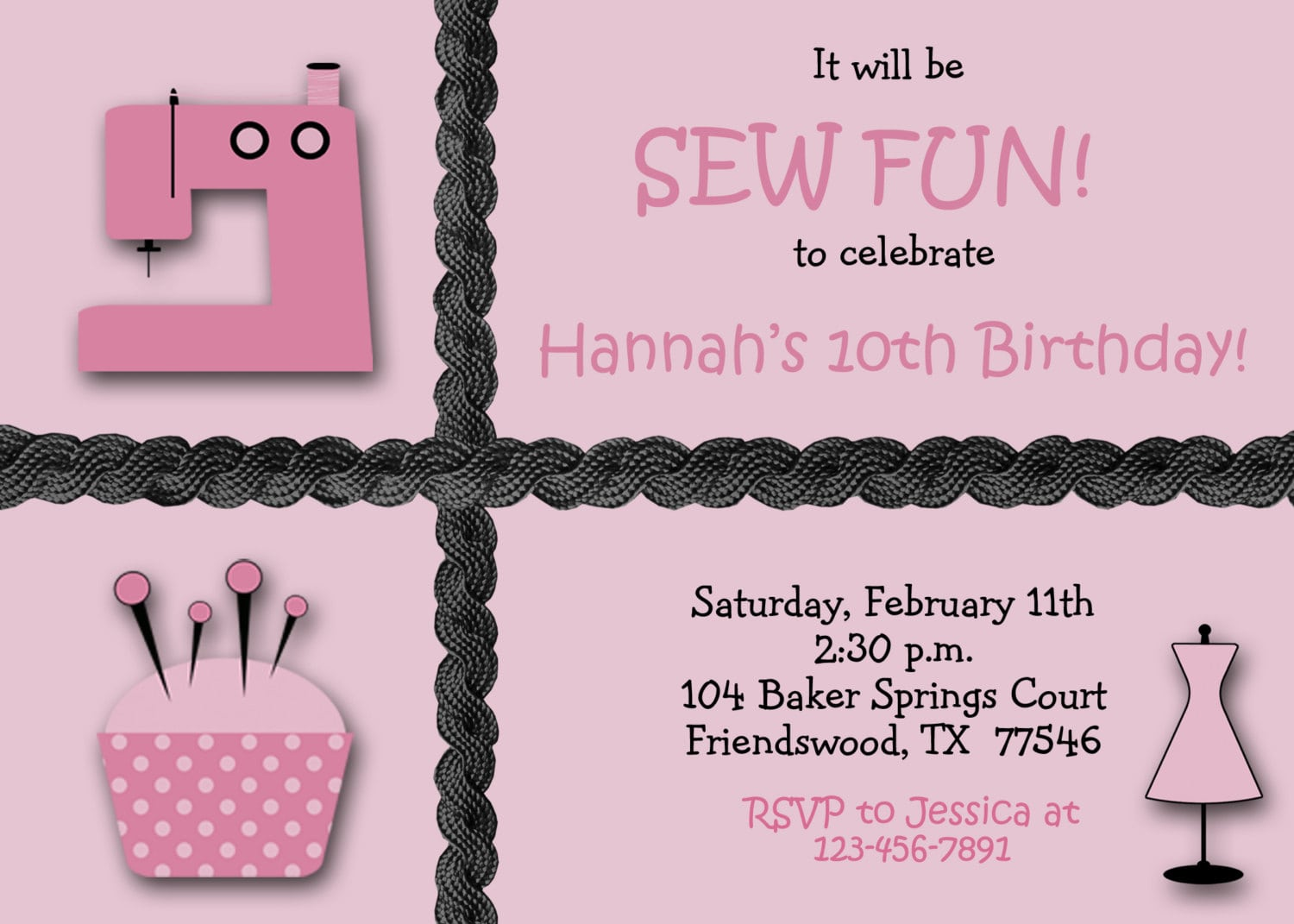 Sewing Party Girls Birthday Party Invitation Custom