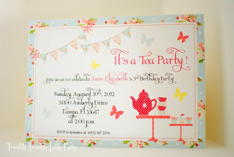 Shabby Chic Tea Party Invitation Or Birthday Tea Party Invitation