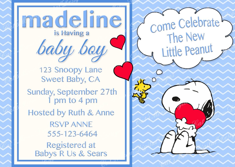 Snoopy Peanuts Baby Shower Invitation Digital Printable Baby
