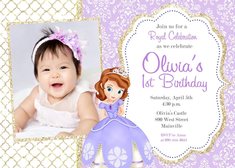 Sofia The First Birthday Party Invitation Digital File