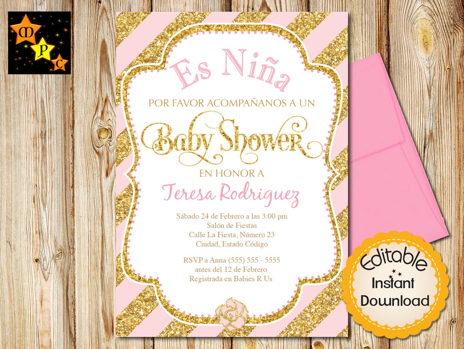 Spanish Baby Shower Invitation, Girl, Pink And Gold Elephant