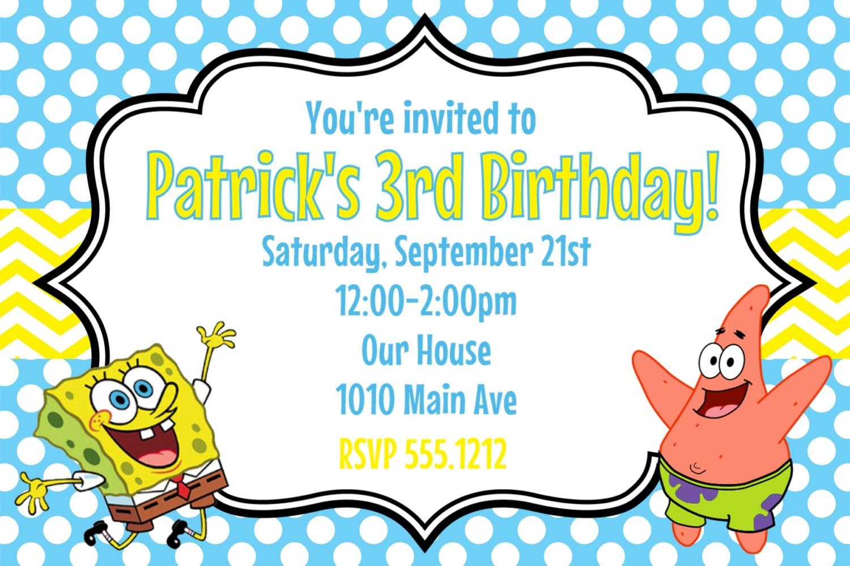 Spongebob Birthday Invitations Spongebob Birthday Invitations For