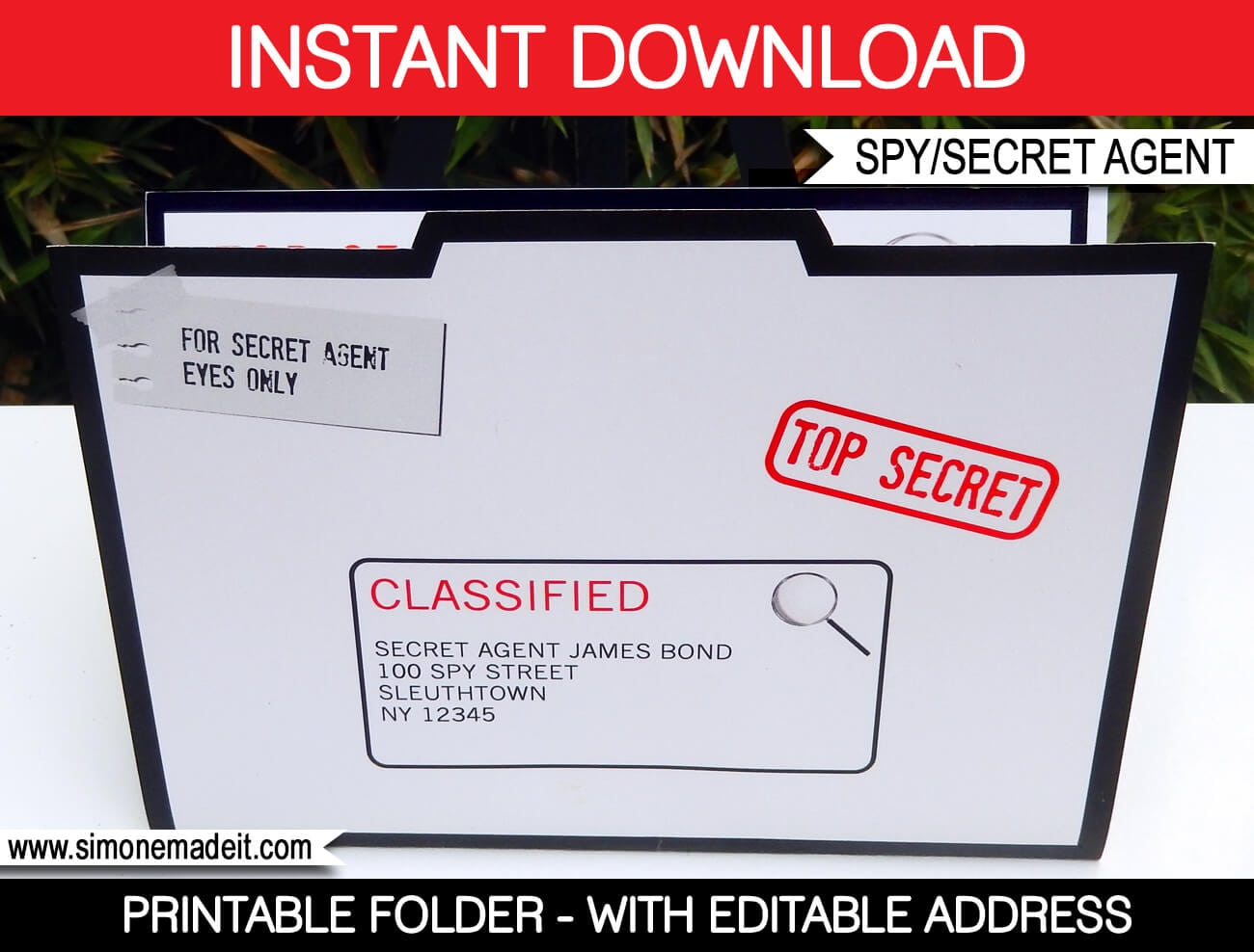 Spy Party Invitation Folder Template