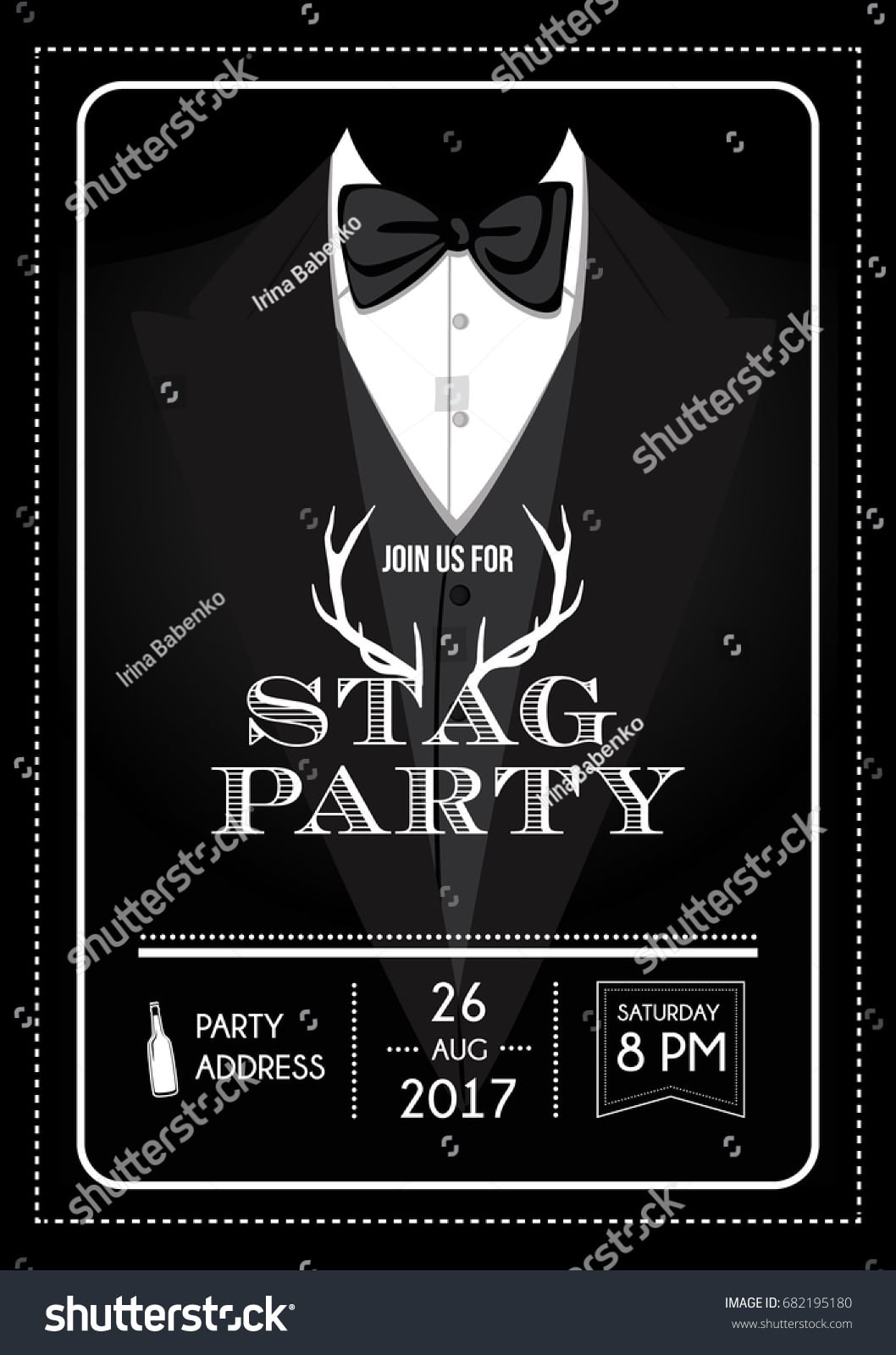 Stag Party Invitation Calligraphy Card Lettering Stock Vector