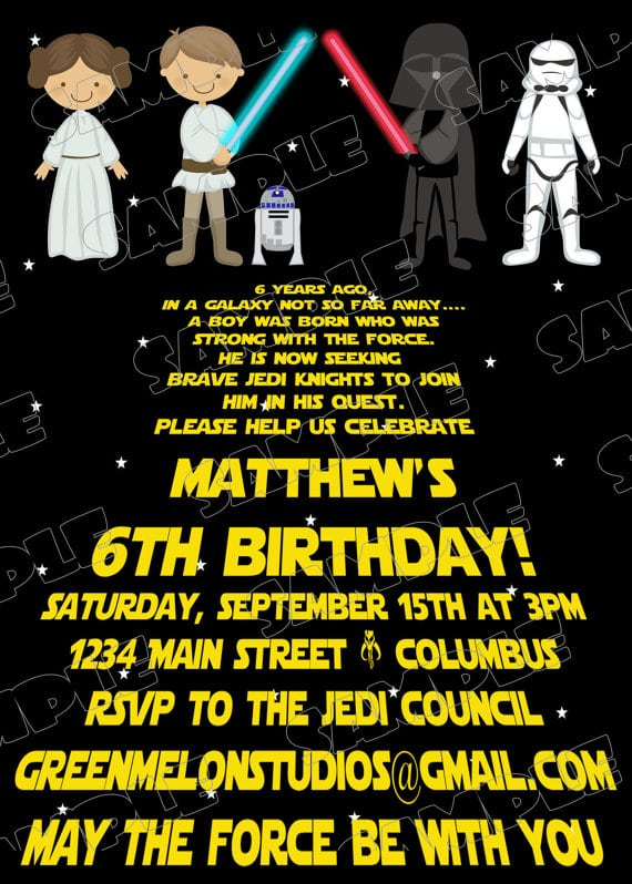 Star Wars Party Invitations Star Wars Party Invitations With