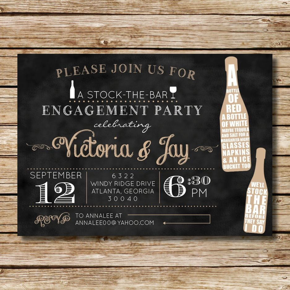 Stock The Bar Engagement Shower Invitation, Perfect For A Couples
