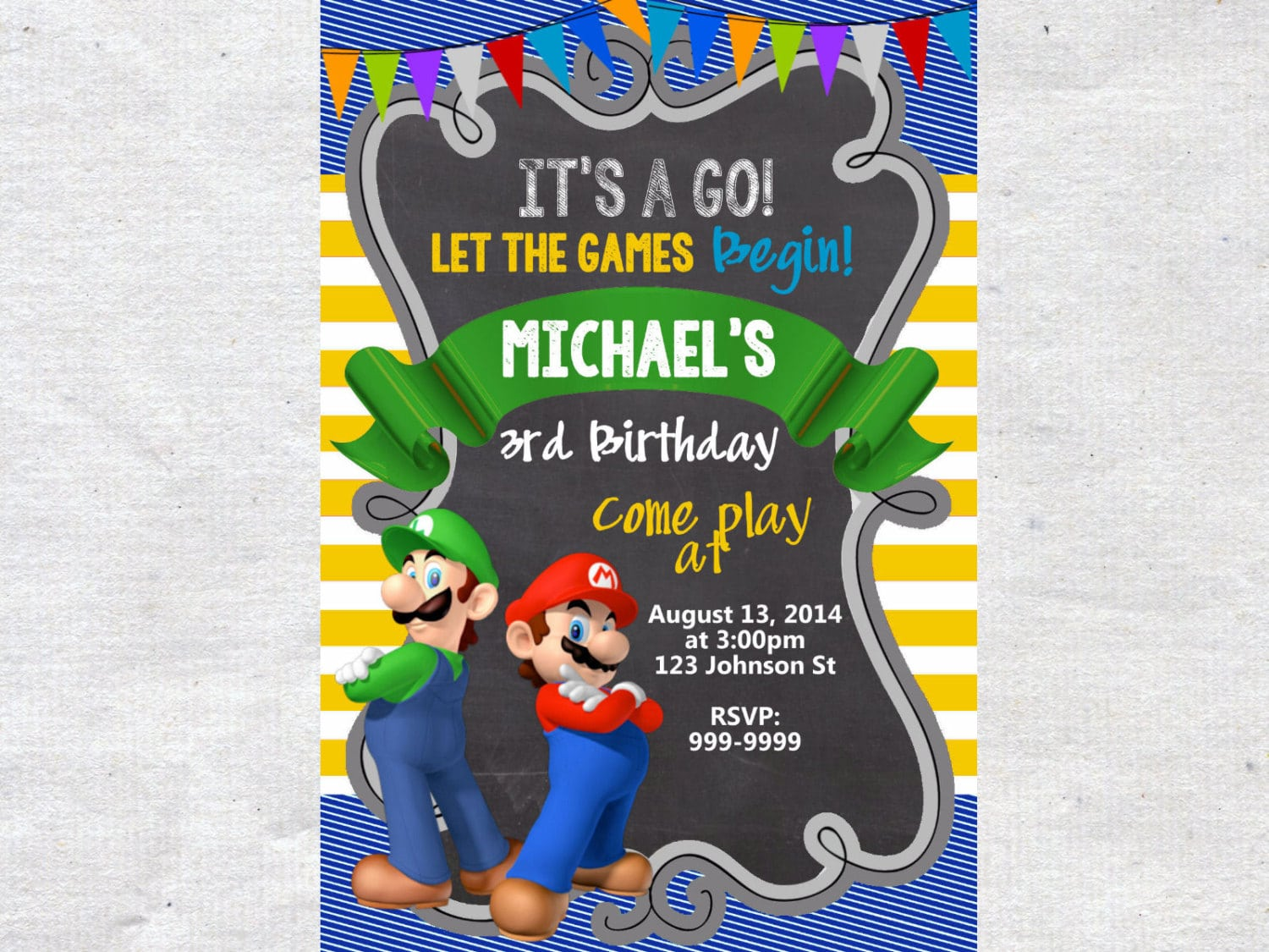 Super Mario Bros Party Invitations