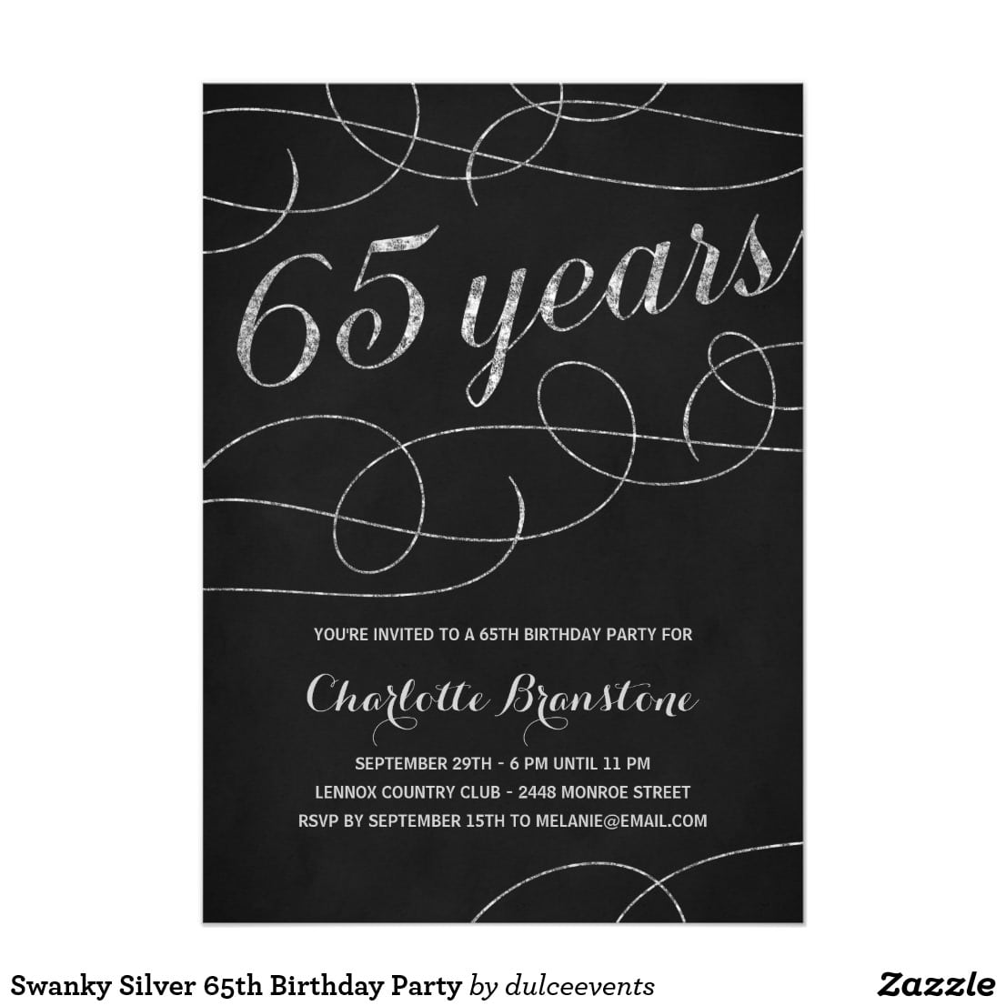 Swanky Silver 65th Birthday Party Card This Fancy, Stylish 65th