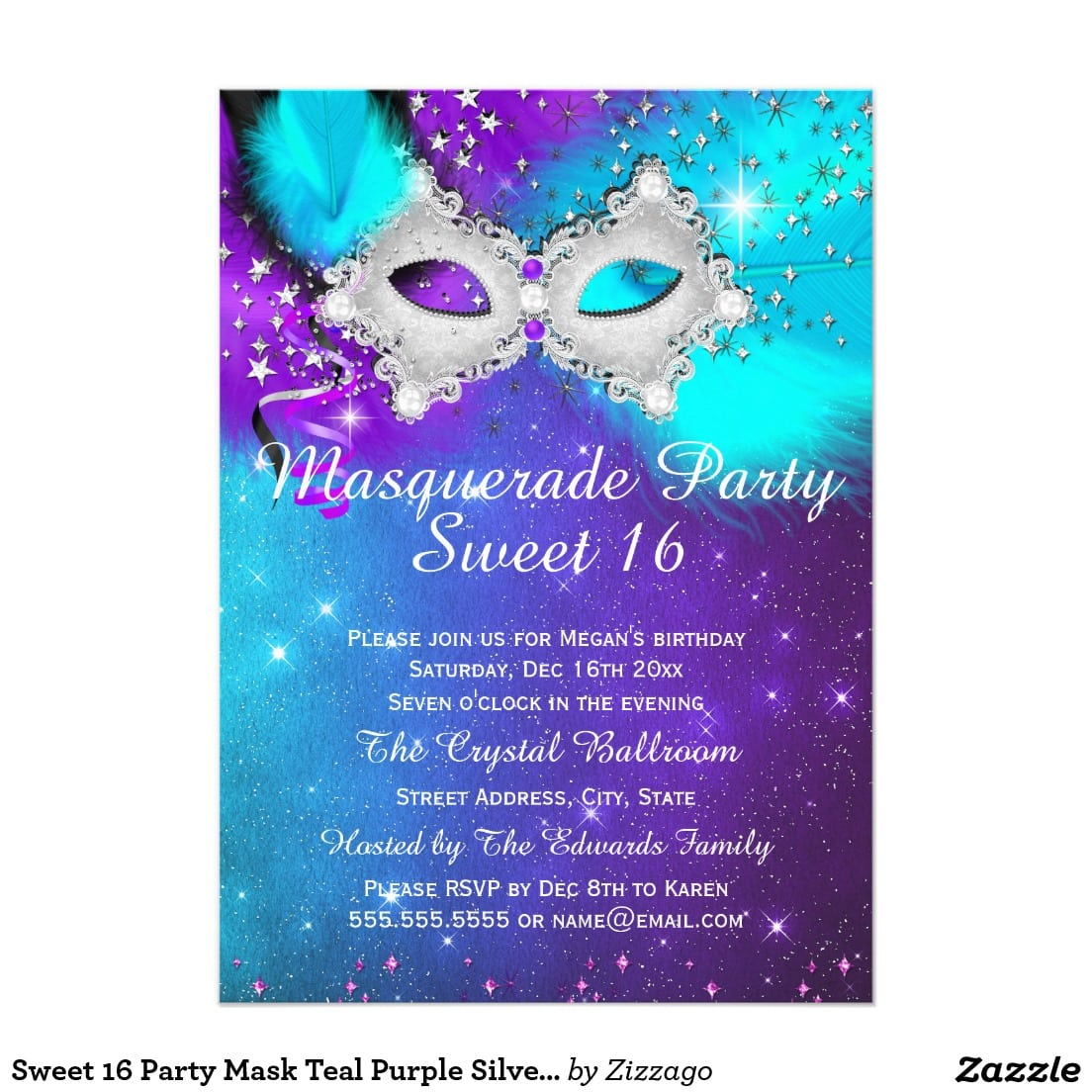 Sweet 16 Party Mask Teal Purple Silver Masquerade 5x7 Paper