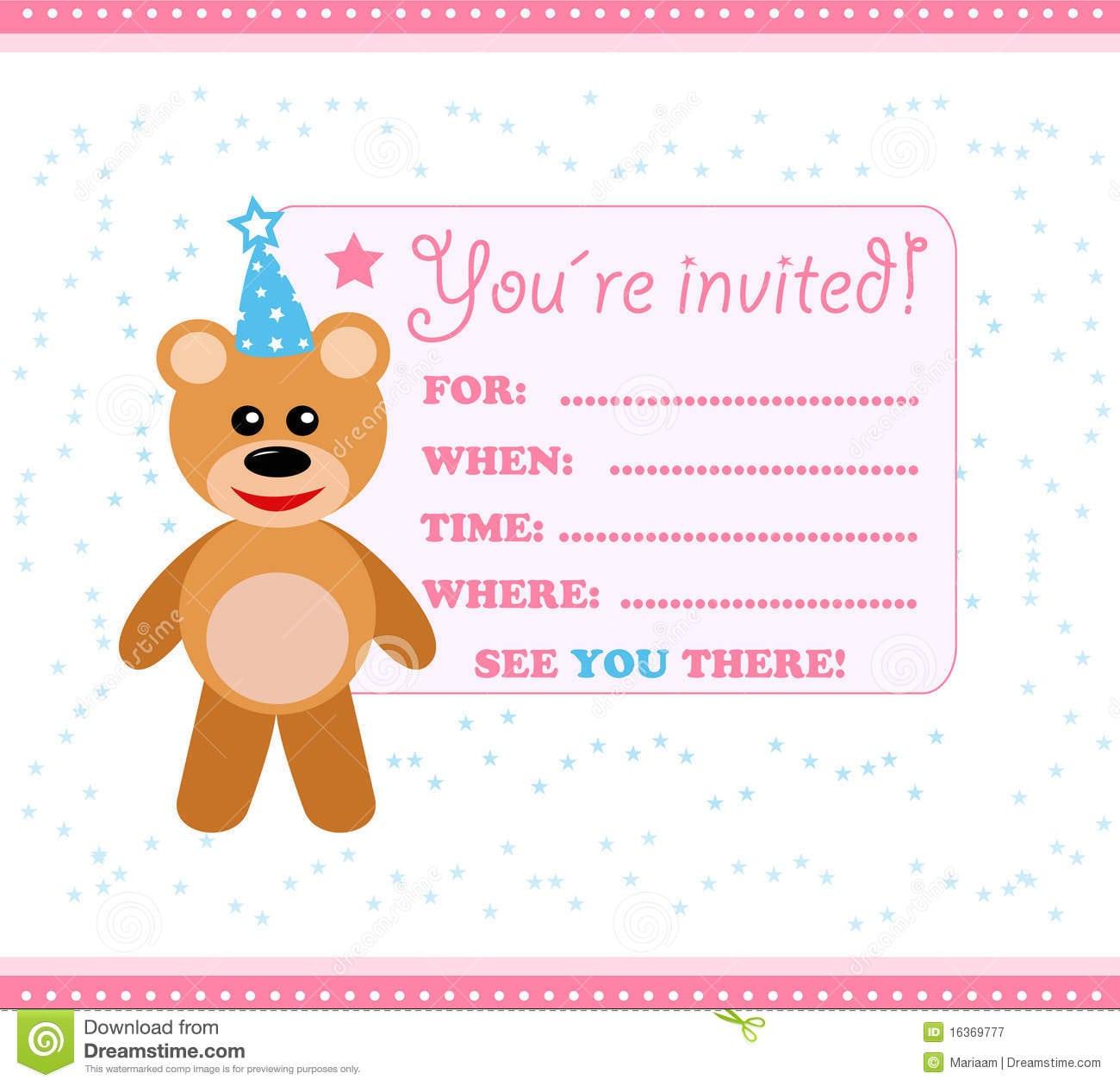 Teddy Design Party Invitation Card Perfect Ideas White Concrete