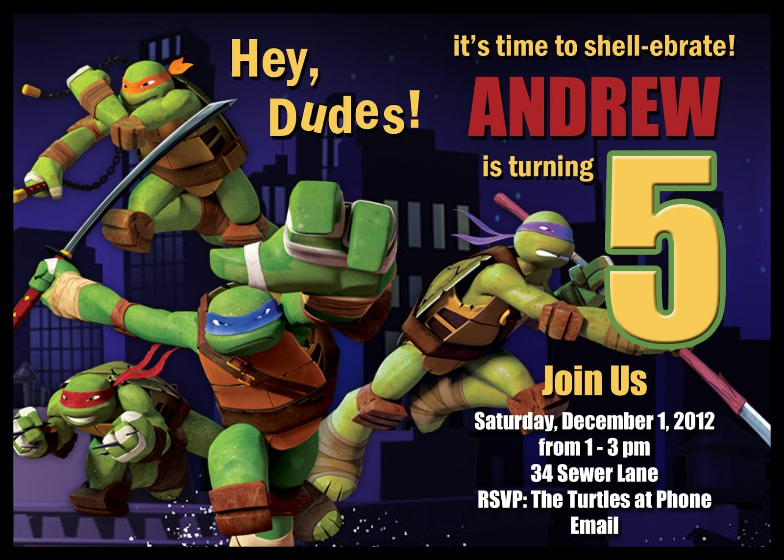 Teenage Mutant Ninja Turtles Birthday Invitations Printable