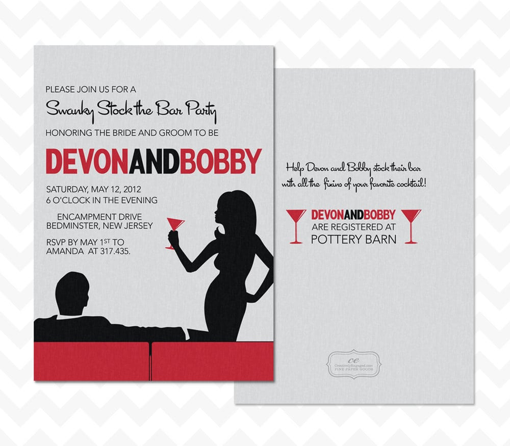 The Bar Couples Wedding Shower Red White Black Invitations