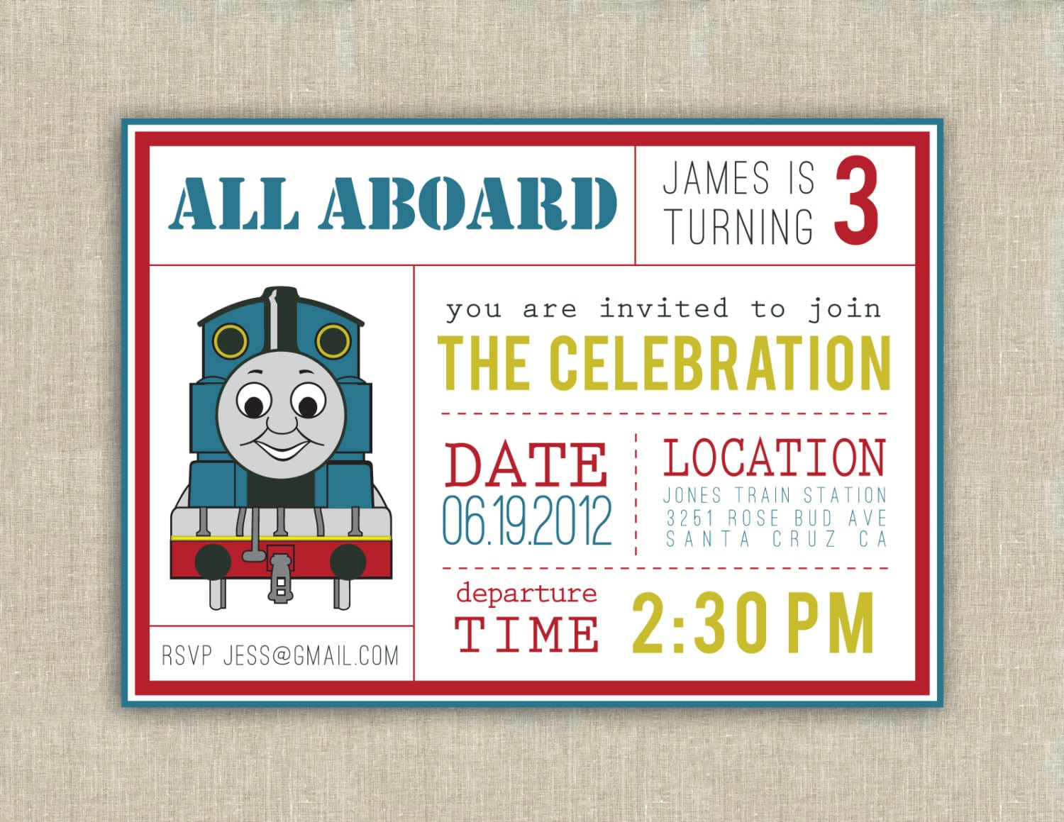 Thomas The Train Party Invitation Printable By Paperkitedesigns