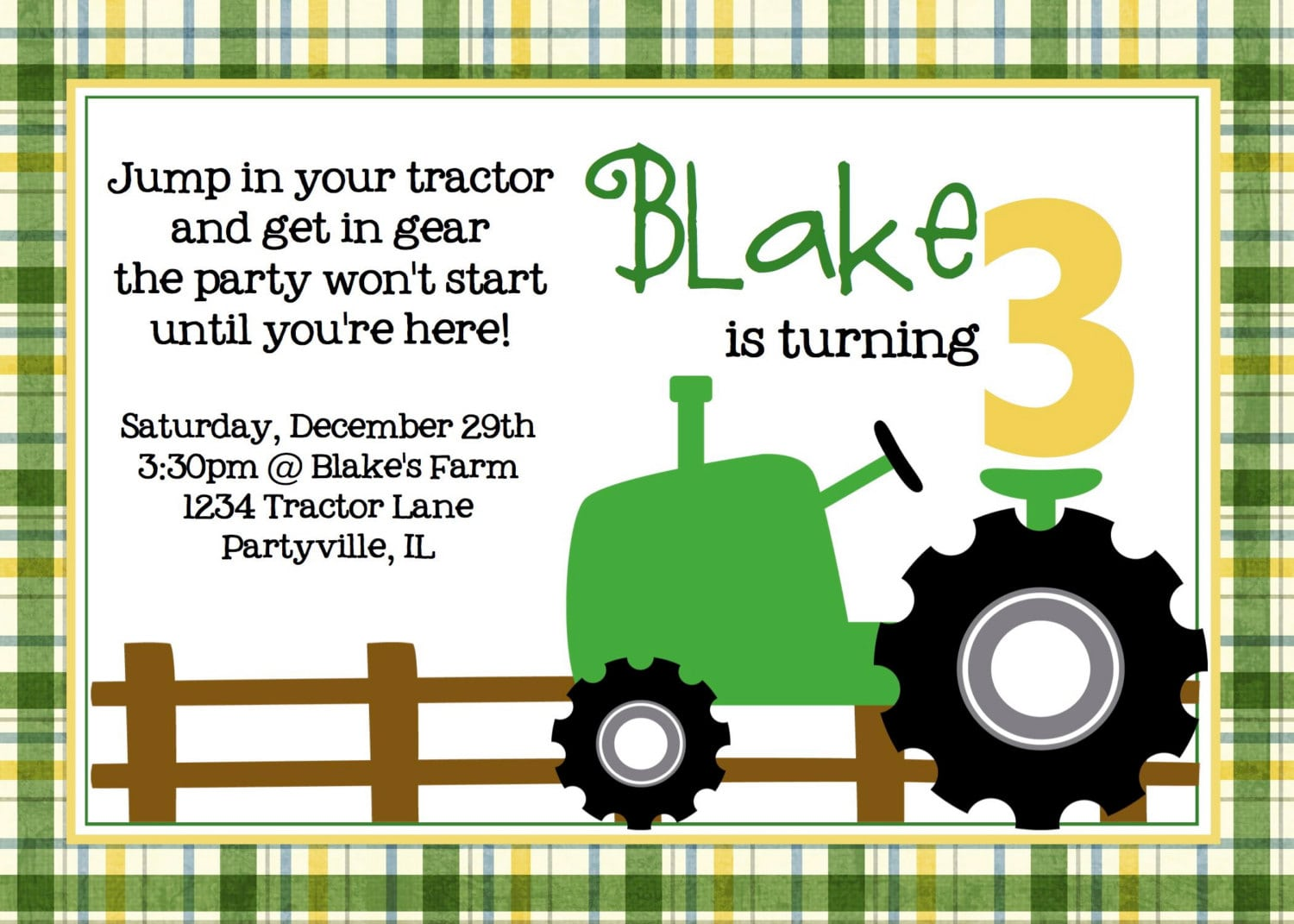 Tractor Birthday Party Green Tractor Printable