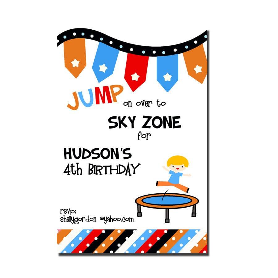 Trampoline Party Invitation Sky Zone Birthday Invitation