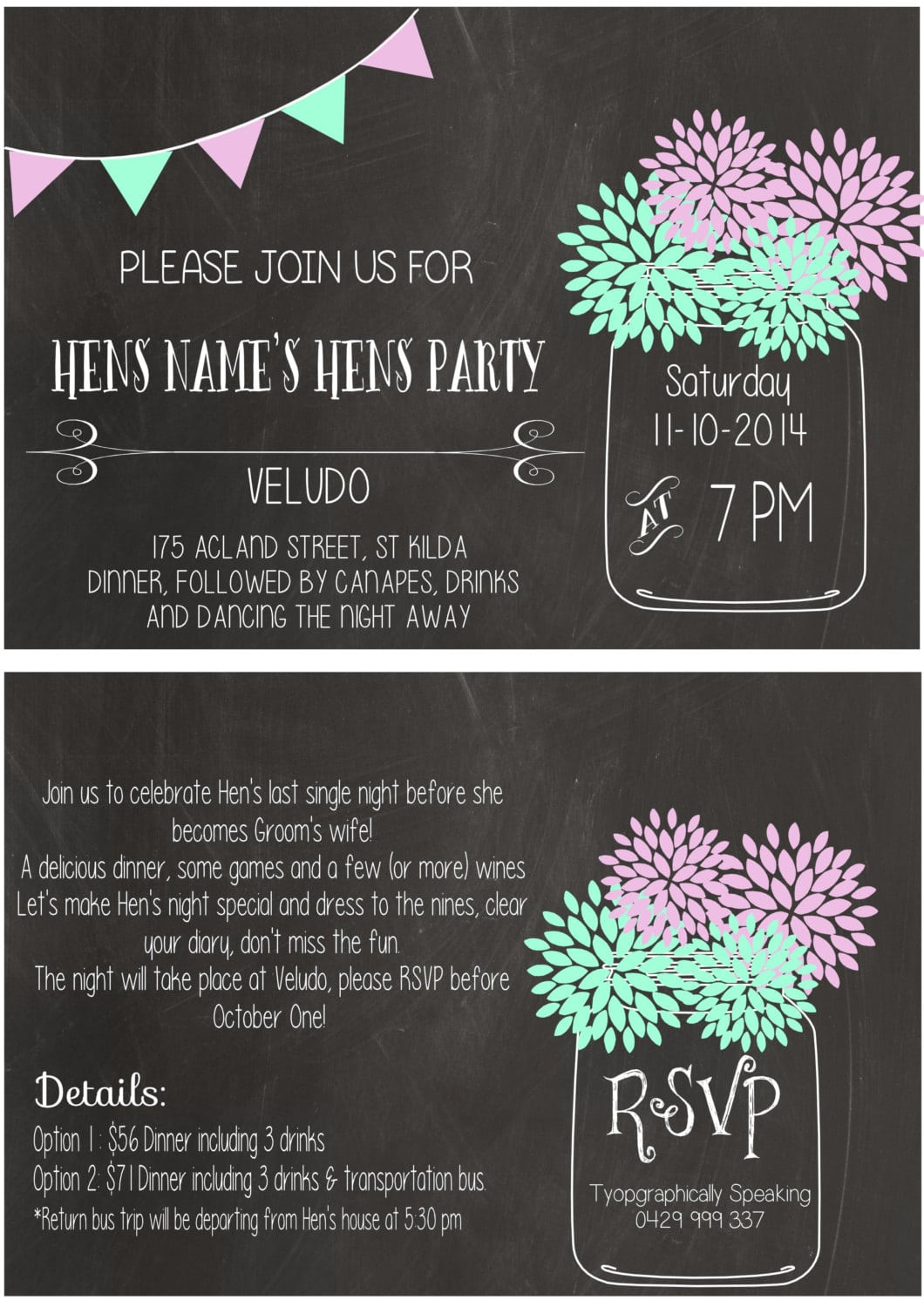 Typographically Speaking Printable Hens Party Invitation