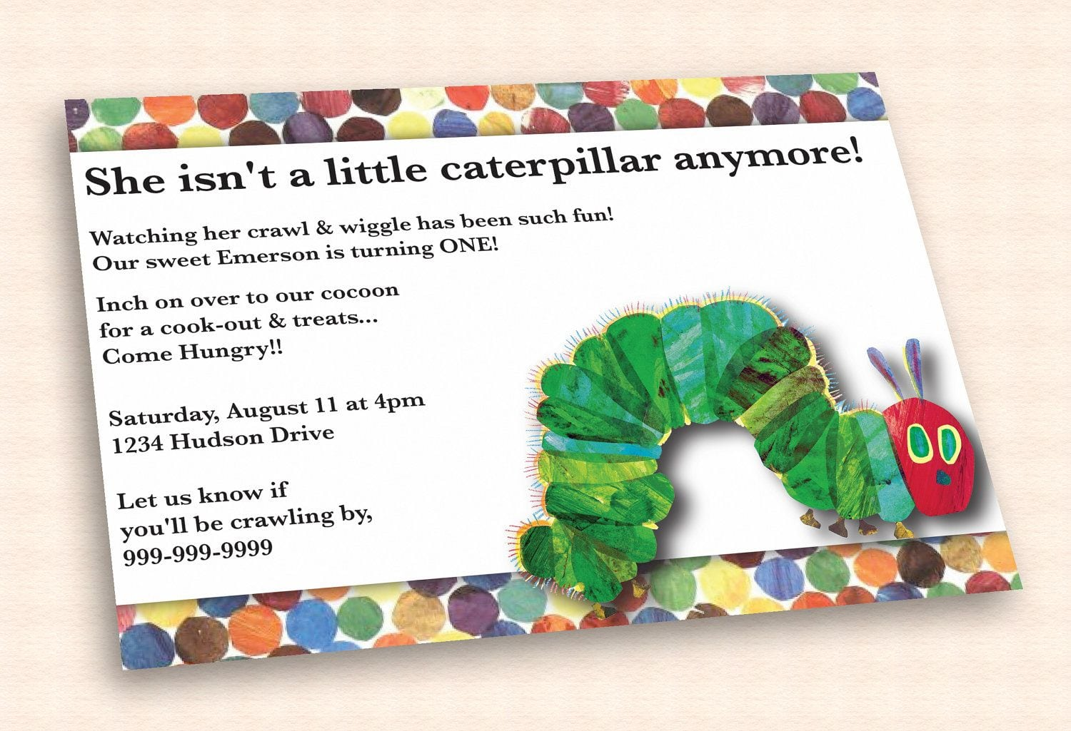 Very Hungry Caterpillar Birthday Invitation By Cuttlefishgreetings