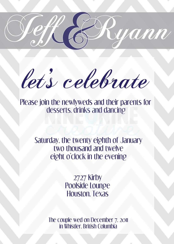 Wedding Reception Invitation By Nineoninecreative On Etsy, $12 00