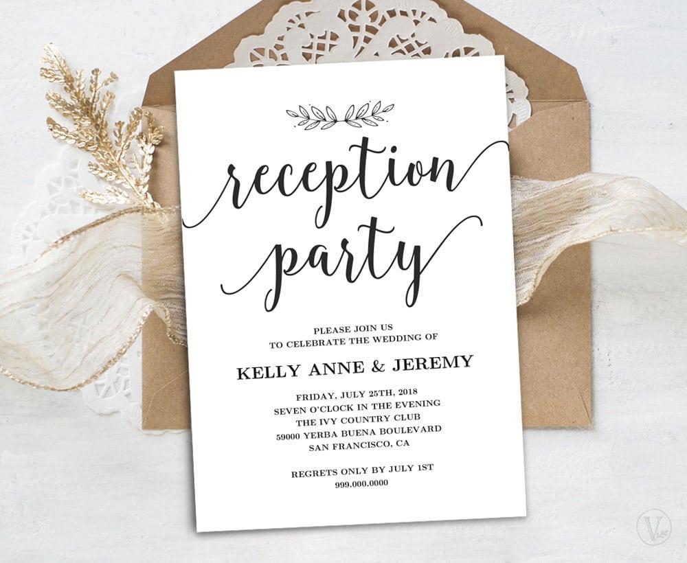 Wedding Reception Invitation Printable Reception Party Card