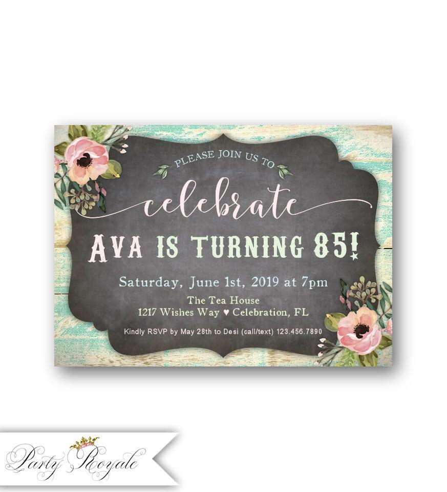 Women's 85th Birthday Party Invitations   Any Age   Birthday