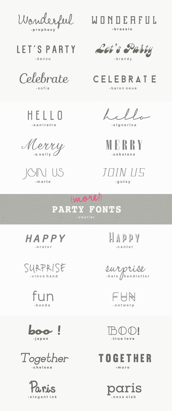 25 More Great Fonts For Parties • A Subtle Revelry