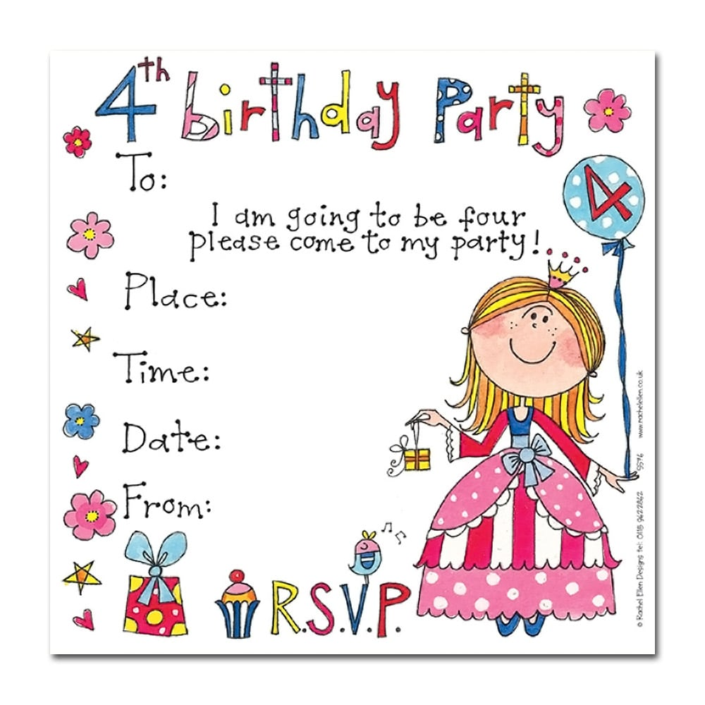 4th Birthday Princess Invitation Cards