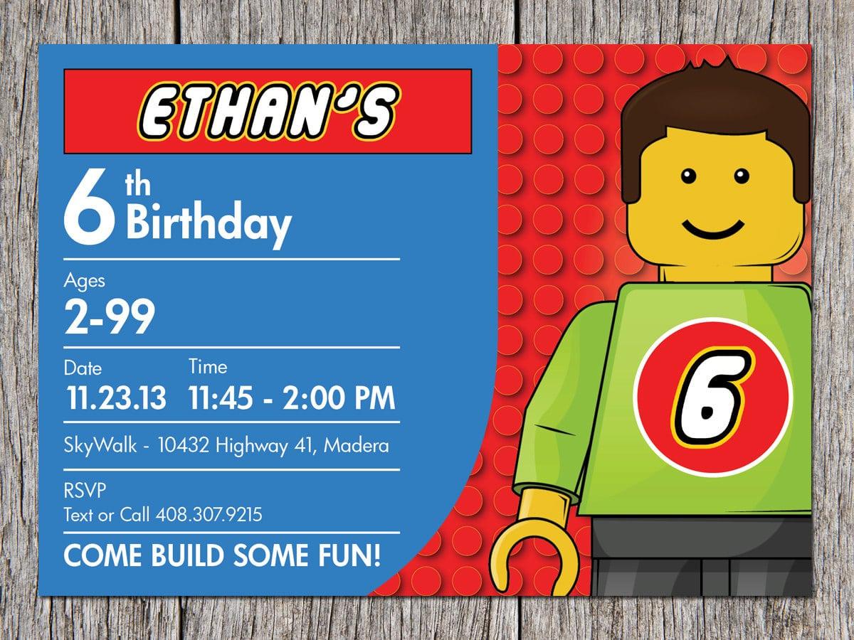 6th Lego Birthday Party Invitation – Bagvania Free Printable