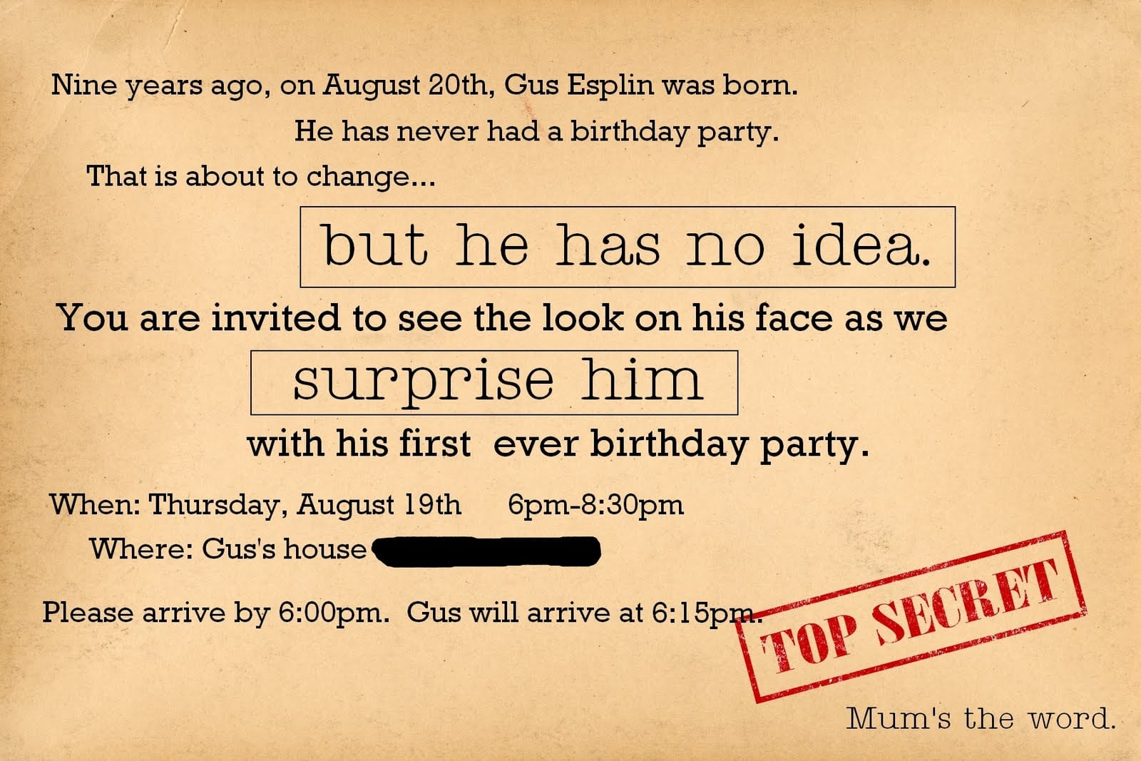 Adult Surprise Viewing Birthday Party Invitations Card With Cream
