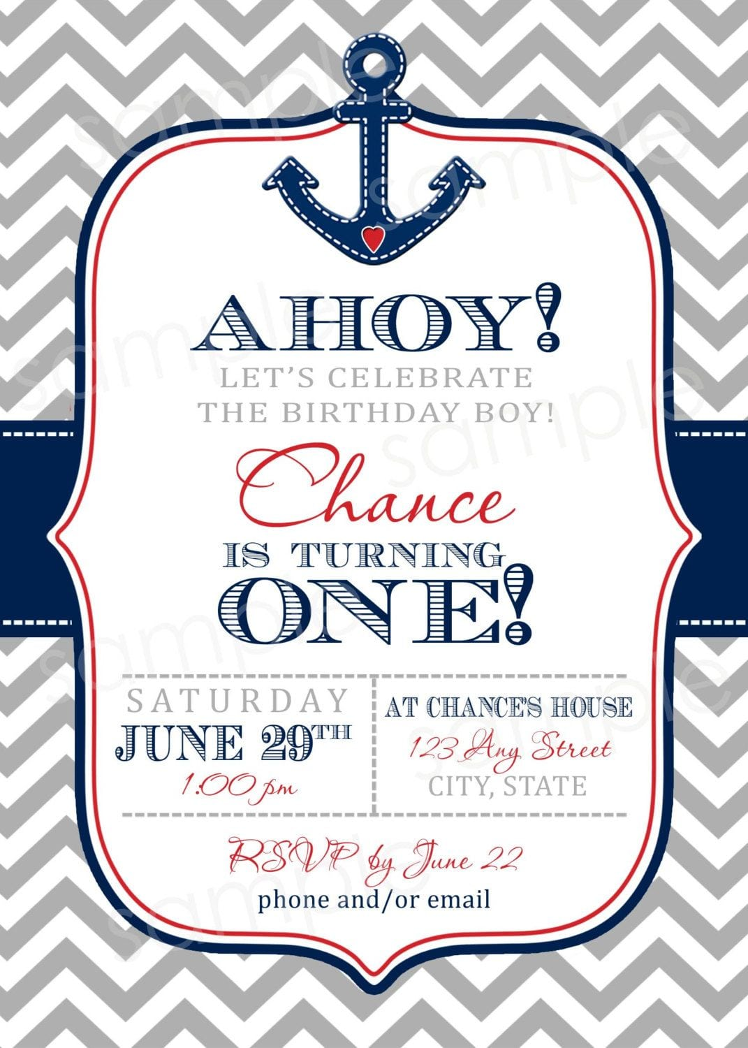 Ahoy Nautical Chevron Print Birthday Invite Diy By Modpoddesigns