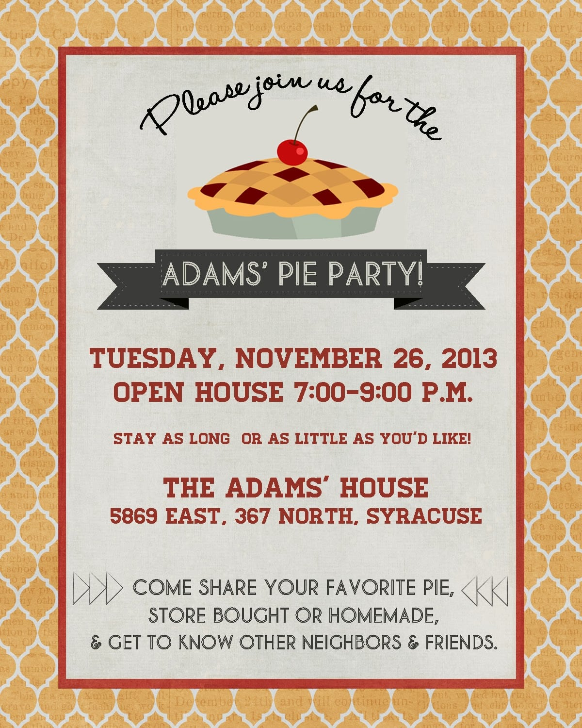 Announcements To Ponder  {pie Party Invitation}