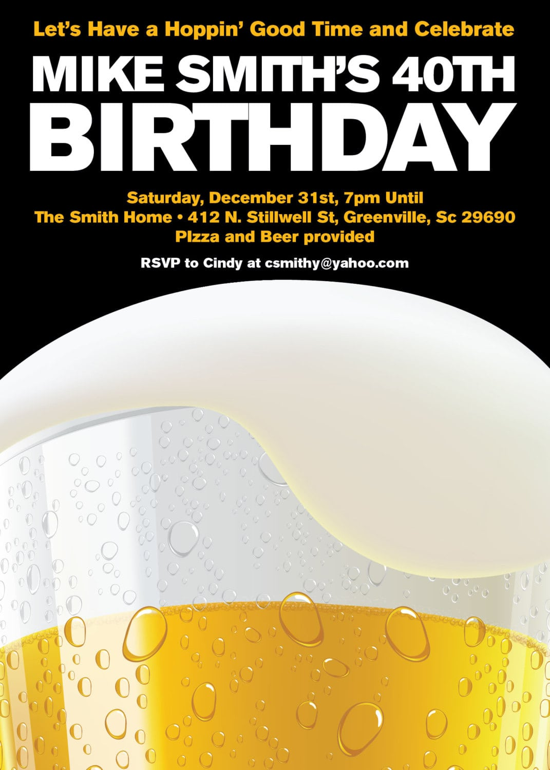 Beer Party Invitations, Birthday, 21st, 30th, 40th, Milestone, Set