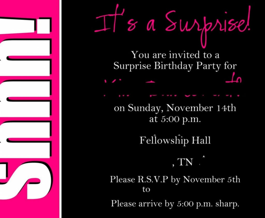 Birthday ~ Surprise Party Invitation Text Image Collections Party
