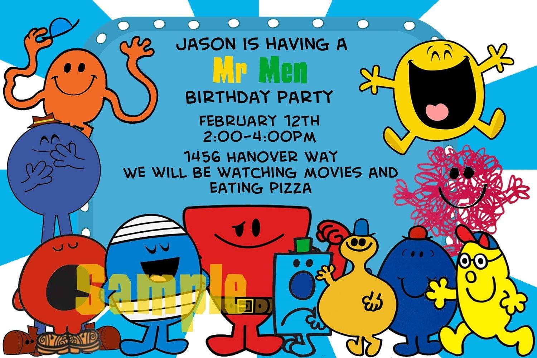 Birthday Invitation Mr  Men  $14 00, Via Etsy
