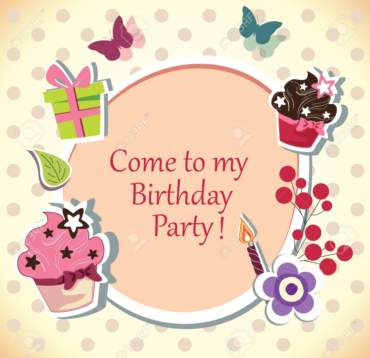 Birthday Party Invitation Card Royalty Free Cliparts, Vectors, And