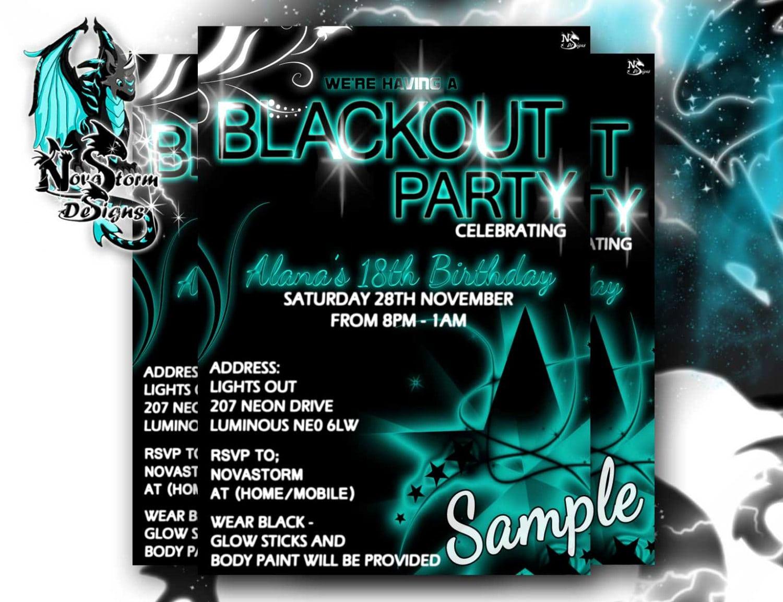 Black Light Party Invitations Black Light Party Invitations