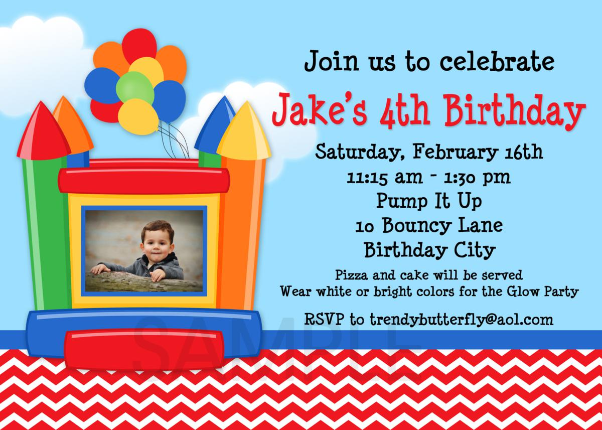 Bounce House Photo Birthday Invitations, 1st Birthday Invitation