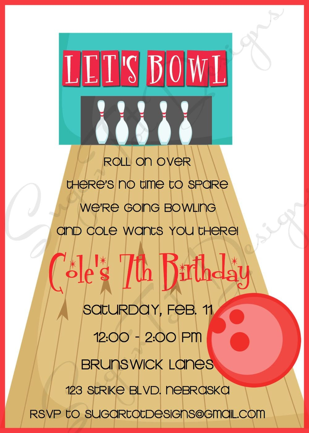 Bowling Birthday Party Invitation Wording