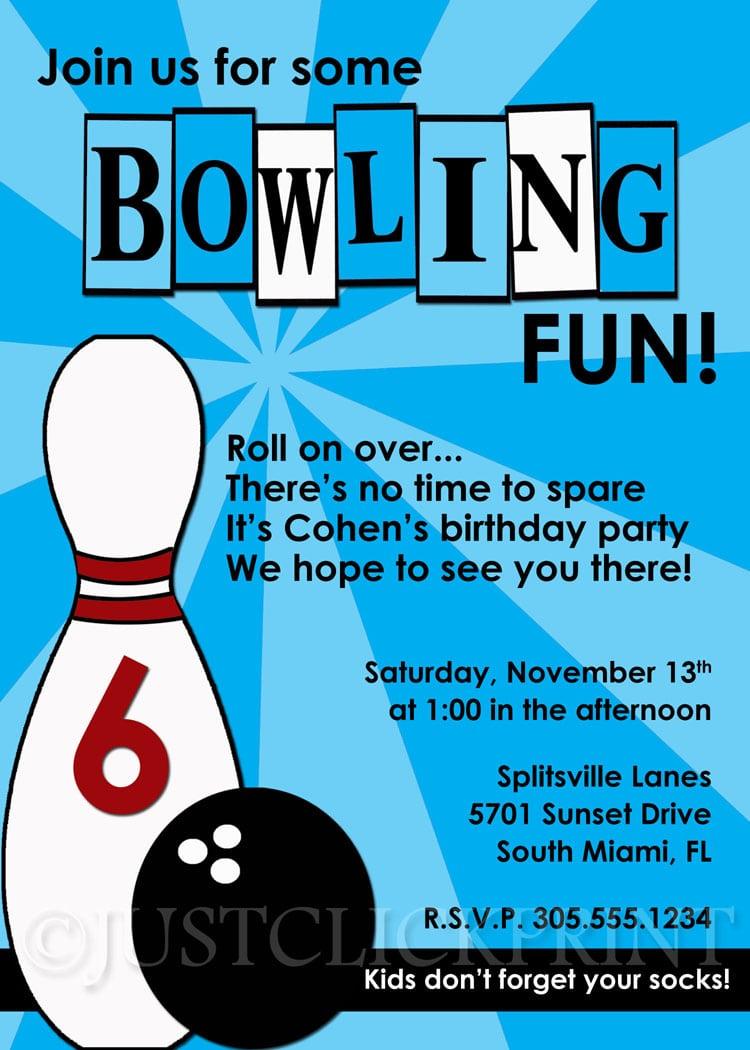 Boys Retro Bowling Fun Birthday Invitation · Just Click Print
