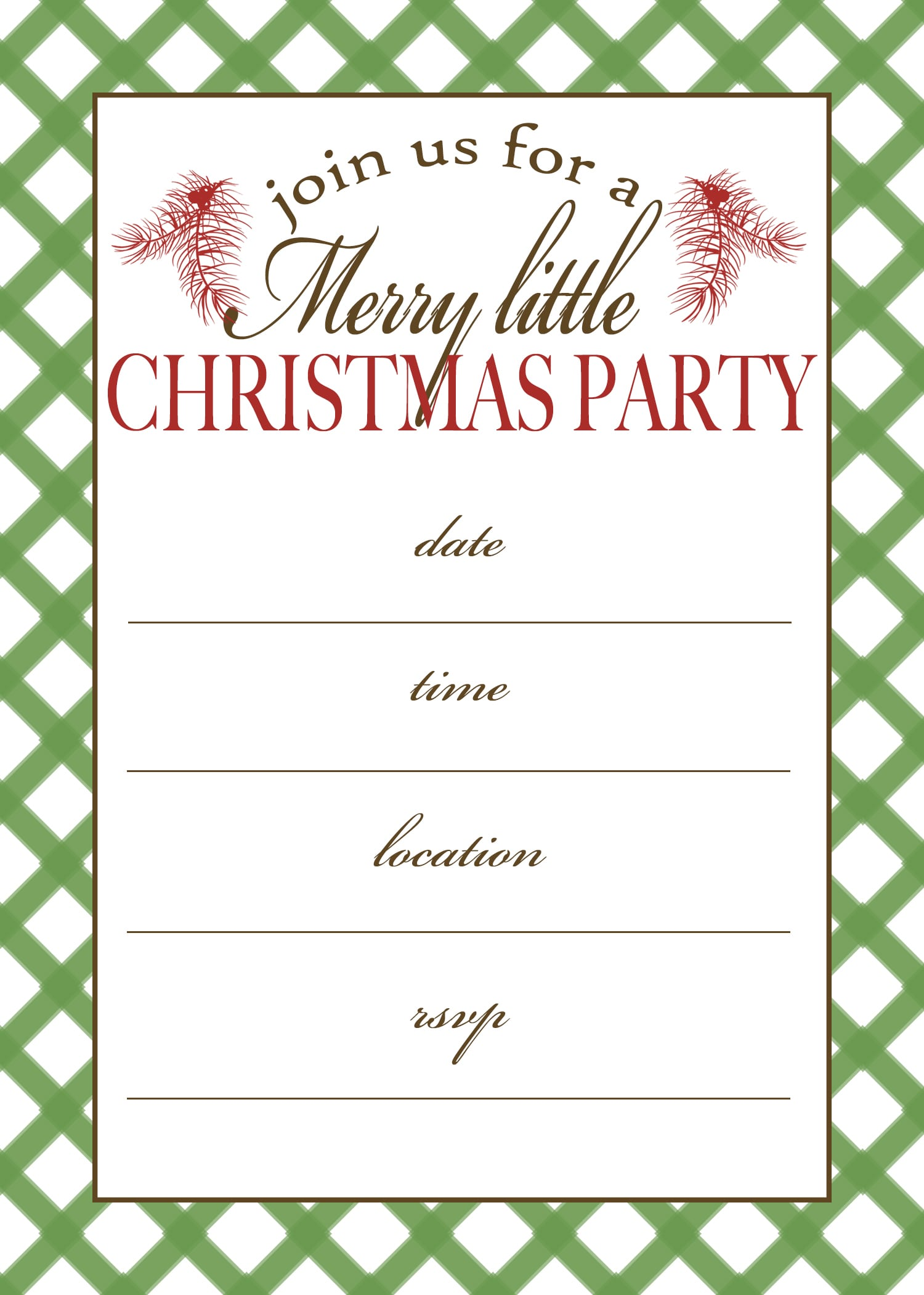 Christmas Invitations Template Free