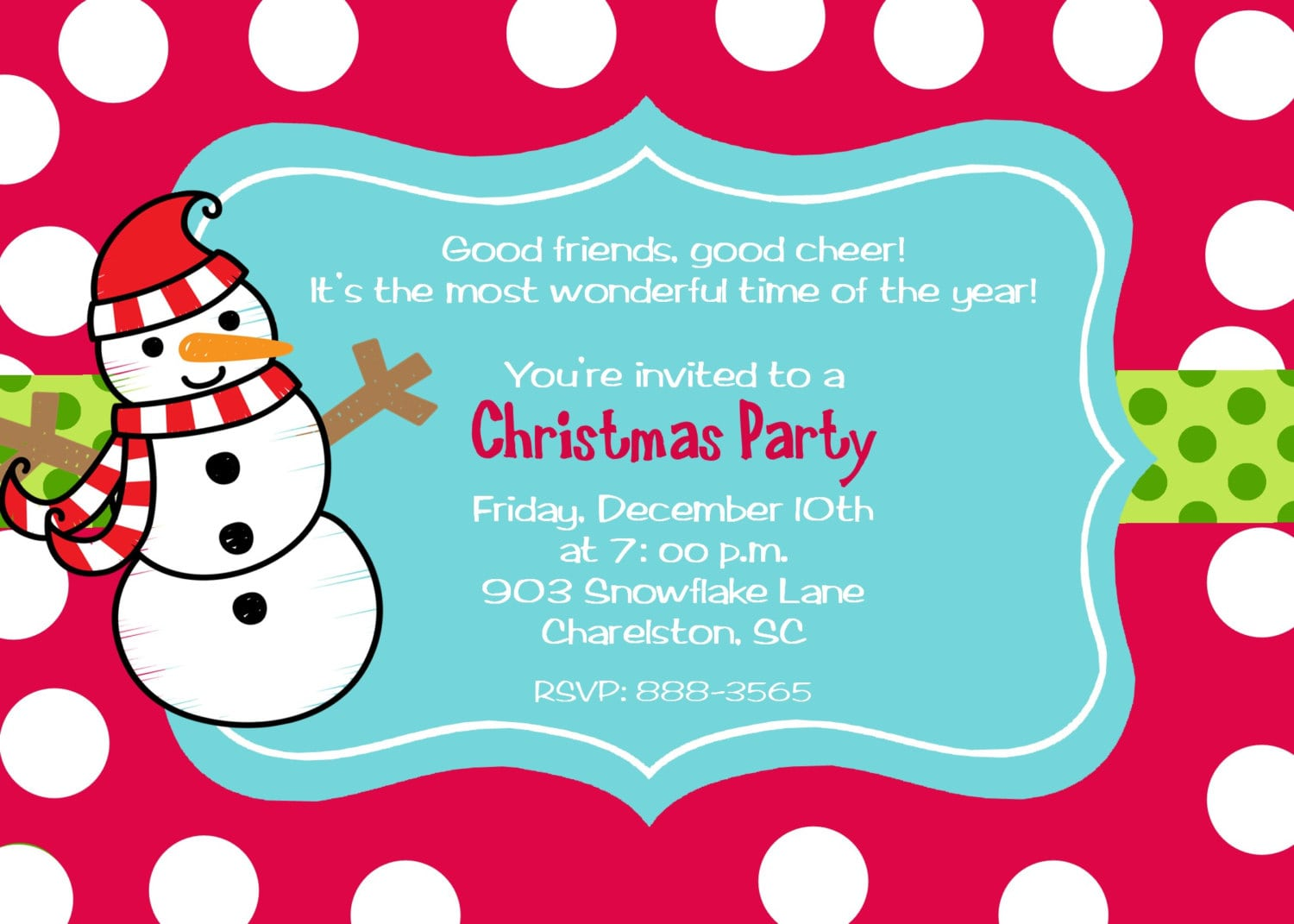 Christmas Party Poem Invitation