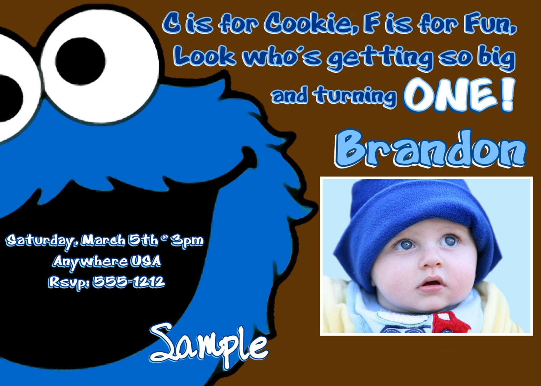 Cookie Monster Birthday Invitations, Digital Printable File